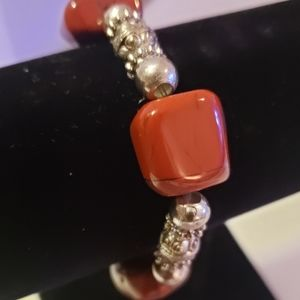 Color stone and silver braclet